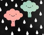 2 Cute Smily cllouds Children's wall hooks / Rainy Nursery Wall hangers / Kid's Towel Racks / Kids Room hooks / Choose Your Color