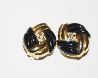 Joan Rivers Clip on Earrings - Black Gold Tone and Crystals -    S1119