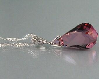 Genuine Swarovski, Bridal Necklace,Purple Swarovski Crystal, Zircon,Helix Necklace, Purple Necklace, Bridesmaid Gift, Wedding Jewelry- DK657