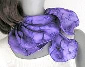 Small Square Scarf, Violet Purple Neck Scarf Unique, Neck Silk Scarf, Hand Painted Silk, Artist Handmade, Original Art, Jossiani