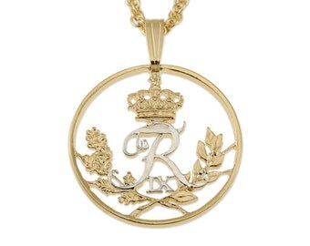 """Denmark Jewelry Pendant and Necklace. Denmark 25 Ore Coin Hand Cut, 14 Karat Gold and Rhodium Plated, 7/8 """" in Diameter, ( # 84 )"""