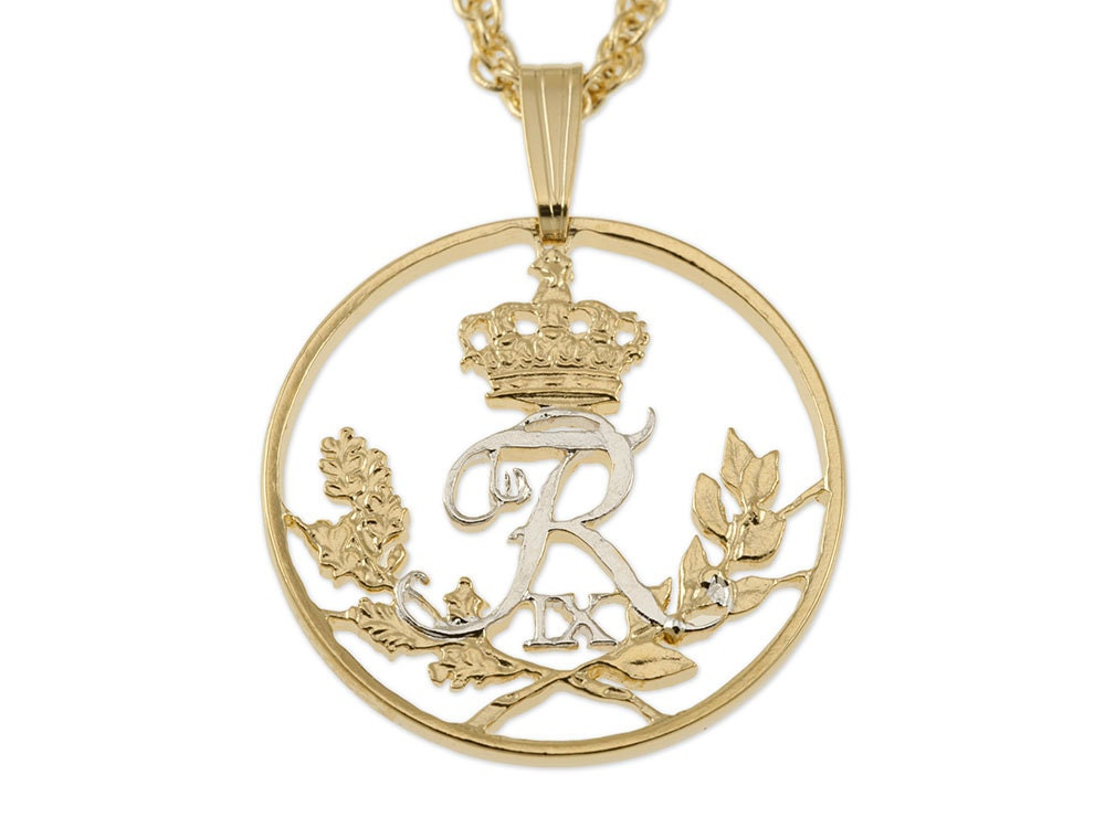 Denmark Jewelry Pendant and Necklace. Denmark 25 Ore Coin Hand