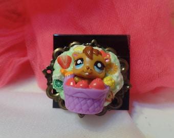 Kawaii Cute Decoden Mini LPS Squirrel Brooch/Pin
