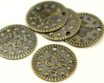 "50 Pieces Antique Brass 16 mm (5/8"") Tugra Tag Findings"