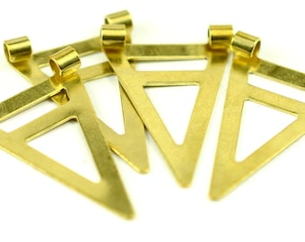 30 Pieces Raw Brass 16,5x25 mm Triangle Necklace Charms Connectors