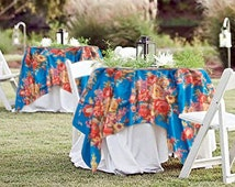 "COTTON FLORAL TABLECLOTH, 48"" x 48"" Muslin Overlay, Spring or Summer Garden Wedding Table Square,Cake or Sweetheart Table,Baby Bridal Shower"