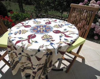 Ecru Small Square Tablecloth, Floral Tile Print Ottoman Decor, Picnic Beach Camp Cloth Turkish Traditional Hand Woven Table Cloth, Kitchen