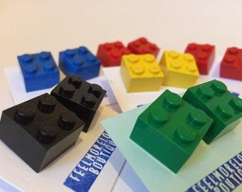 Lego Stud Earrings - Square Lego Block Earrings in Bright Colours - Legos - Lego Jewellery - Colourful Lego Jewelry - Legoes
