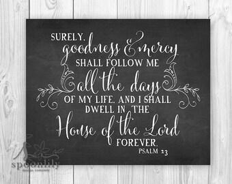 Bible Verse Print, Chalkboard Style Scripture Art Print, Christian Home Decor, Typography Art, Psalm 23 Bible Quote Art Print