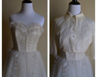 1950's Off-White Tulle Prom Dress with Bolero.