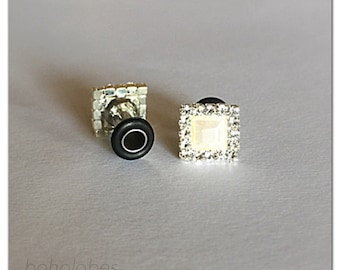 Small square pearl rhinestone plugs sizes: 14g 12g 10g 8g 6g 4g 2g