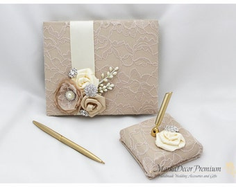 Wedding Lace Guest Book Pen Holder Set Custom Bridal Flower Brooch Guest Books with Handmade Flowers, Brooches in Champagne, Ivory and Tan