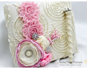 Wedding Lace Guest Book and a Pen Set Birthday Custom Bridal Flower Brooch Guest Books in Pink and Ivory
