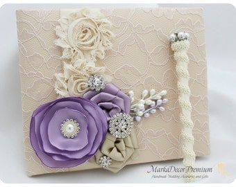 Wedding Lace Guest Book and a Pen Set Birthday Book Custom Bridal Flower Brooch Guest Books in Champagne, Tan, Lavender and Ivory