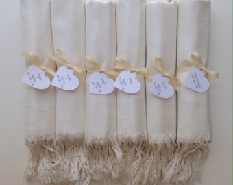 Ivory Shawls with Ivory Ribbon and Heart Favor Tags, Set of 8, Pashmina, Wedding Favor, Bridal, Bridesmaids Gift, Wraps, Welcome Bags