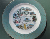 California Souvenir Wall Plate - Wall Hanging - Souvenir State Plate - Collector's Plate - Home Decor - Kitsch - California Plate