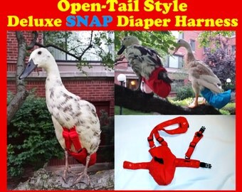 """Deluxe """"Snap"""" OPEN TAIL Diaper Harness for Pet Fowl Made-to-Order"""