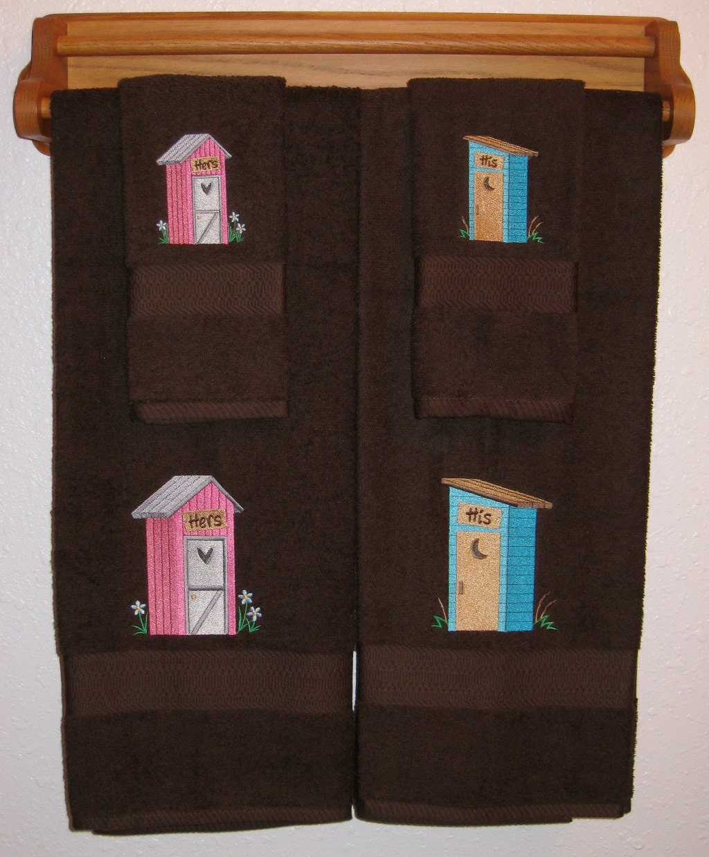 HIS And HERS Outhouses Towel Set Country Outhouse Bath