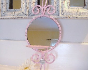 Mirrored candle sconce, pillar sconce, shabby chic decor, pink nursery decor, pink candle holder, wall sconce
