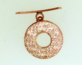 Hill Tribe Toggle, Copper Hill Tribe Toggle, Round Toggle. Size: 25mm