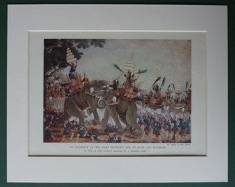 Vintage Print of a Battle of the Siamese and Burmese Wars War elephant art, Asian military decor - Available Framed, Asia Art, Oriental Gift