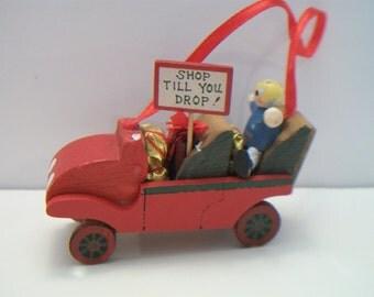 Kurt S. Adler Wood Christmas Ornament Shop Till You Drop 1989