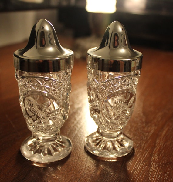 Beautiful Vintage Footed Salt And Pepper Shaker Set By