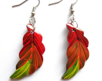 Alternative Wooden Feather Earrings - Red Orange - Natural Tribal Wood