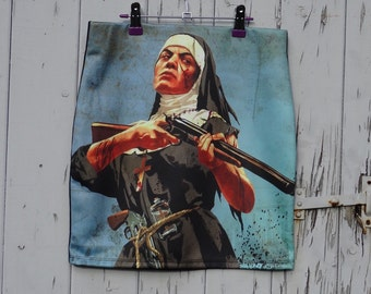 Vintage Angry Nun With A Gun Skirt - Size 8 10 12 14 16 - Mini Digital Print Retro B Movie Bodycon Wiggle Geekery Shotgun Film Horror
