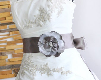 Bridal sash taupe with flower, bridal belt, taupe gray, wedding sash