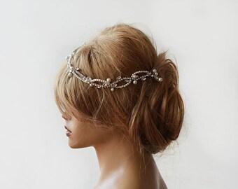 Wedding, Wedding  Rhinestone and Pearl  headband,  Bridal Headband,  Bridal Hair Accessory, Wedding  hair Accessory