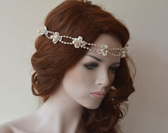 Rhinestone and Pearl headband, Wedding Headband, Bridal Hair Accessory, Lace Wedding Head Piece, Wedding Hair Accessories