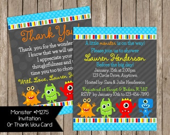 Little Monster Baby Shower Invitation Monsters Invite Printable - Digital File