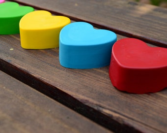 Heart Crayons Set of 40 - Valentines Day Crayons - Chunky Heart Crayons - Valentines Day Party Favors