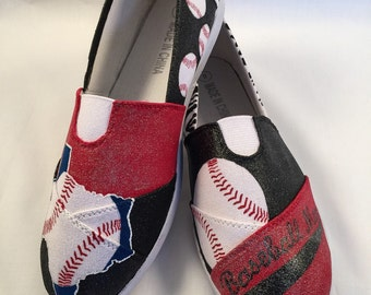 Baseball Mom Hand Painted Shoes (Texas) Any State or theme available