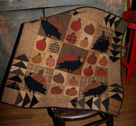 Wool Applique Pattern Crows And Pumpkins Applique Pattern