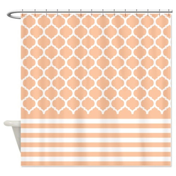 Quatrefoil and striped shower curtain peach and white for Quatrefoil bathroom decor