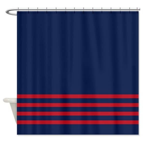 Striped Shower Curtain Navy Blue W Brick Red Stripes Customize