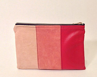 Color-block red leather pouch