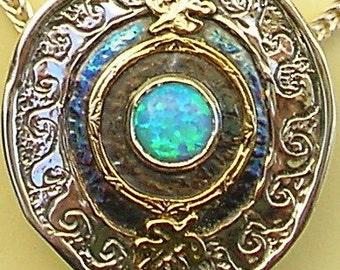 Isaac's Well, Silver gold Opal pendant Israeli jewelry, Judaica, Kabbalah, Jewish, Bible, Holy land, Torah