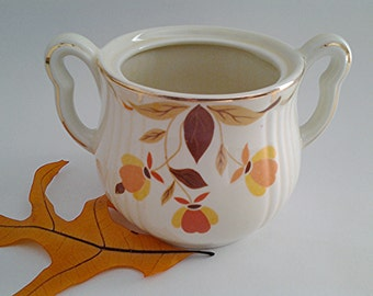 Mid Century Hall China Jewel Tea Rayed Sugar Bowl No Lid, 1930s Collectible/Autumn Leaf Pattern/Replacements/Gift Idea/USA Made/Fall Kitchen