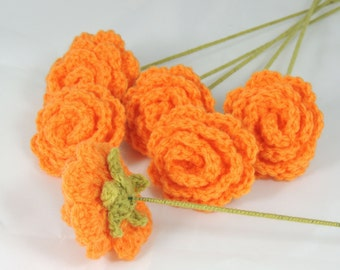 Crochet Roses Flower Bouquet of 6 Orange Roses