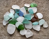 Sea Glass For Craft Lovers - 25 pc with teals and other rare colors * Coast of Peru HU0005
