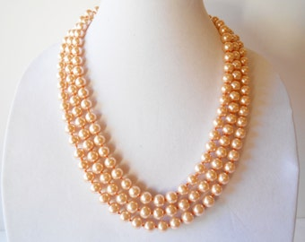 Pearl Necklace, Vintage Necklace, Opera Length, 10mm Faux Pearls, Glamorous Necklace, Pearl Beads, Costume Jewelry