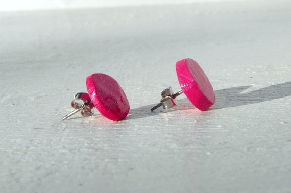Pink Sparkle Earrings from Feath and Kee