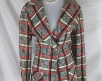 1960s 1970s Vintage Red Black White Plaid Coat Blazer Jacket
