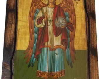 Archangel Michael - (full Body) - Orthodox Byzantine icon on wood handmade (22.5 cm x 17 cm)