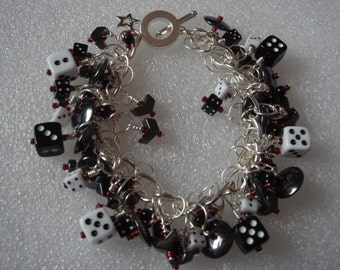 Black & white dice bracelet