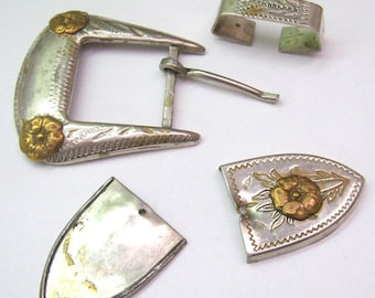 Reduced...Vintage GERMAN SILVER  Belt Buckle Parts.....Gold Flower Accents...Etched Silver Designs...Repair...ReVintage