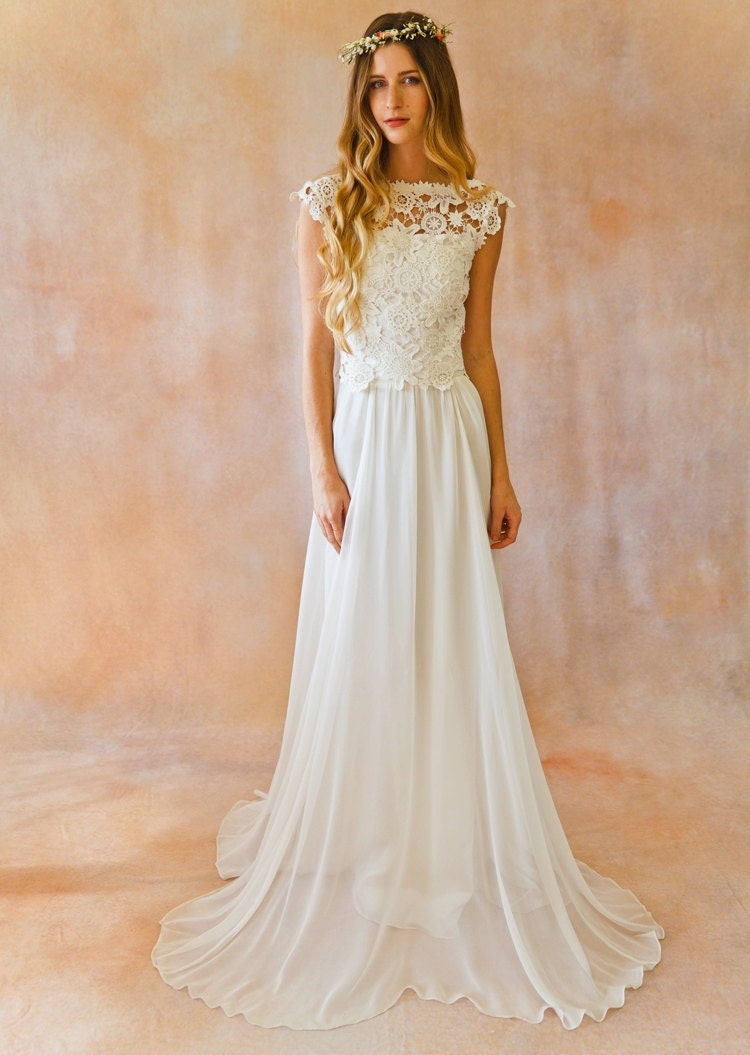 Top only lace silk chiffon bohemian wedding dress open back for Wedding dresses for groom